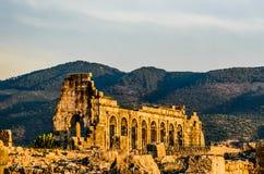 Volubilis Basilica. The basilica in volubilis roman archaelogical site, Morocco, at sunset Stock Photos