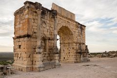 The ruins of Volubilis, Marocco. Volubilis is the best preserved Roman site in Morocco, and features some brilliant mosaics. It was declared a UNESCO World royalty free stock images