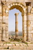 Volubilis Capitol. Volubilis is the best preserved Roman site in Morocco, and features some brilliant mosaics. It was declared a UNESCO World Heritage site in Stock Photography