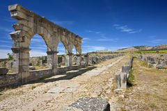 Volubilis - the Decumanus Maximus street Royalty Free Stock Images
