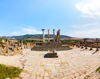 Volubilis Marocko - touristic dragning och en romersk arkeologisk plats Arkivbild