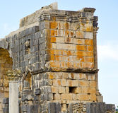 Volubilis in morocco africa the old roman deteriorated monument Stock Photos