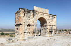 Volubilis, Morocco. The Arch of Caracalla at Volubilis, Morocco, North Africa Royalty Free Stock Photography