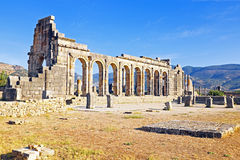 Volubilis - Roman basilica ruins in Morocco, North Africa Royalty Free Stock Photos