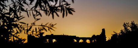 Volubilis Roman Site Basilica Sunset Silhouette Stock Photography