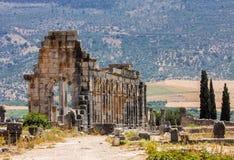 Volubilis - ruïnes van historische stad van leeftijd van roman imperium, Marokko Stock Foto