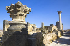Volubilis ruins. Volubilis is the best preserved Roman site in Morocco, and features some brilliant mosaics. It was declared a UNESCO World Heritage site in 1997 stock photo
