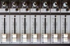 Volume on the audio mixer Stock Image