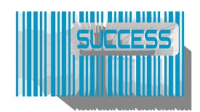 Volume barcode with text. Blue 3d with long shadow and text success Stock Photography