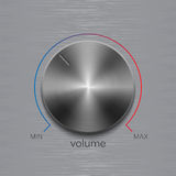 Volume button with dark metal steel brushed texture and color line scale isolated on aluminum polished texture background. Volume button, sound control, music Royalty Free Stock Images