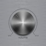 Volume button with dark metal steel brushed texture and line scale isolated on aluminum polished texture background. Volume button, sound control, music knob Royalty Free Stock Photos