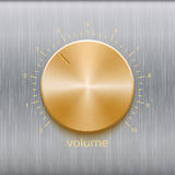Volume button with golden brushed texture and number scale isolated on metal texture background. Volume button, sound control, music knob with golden brushed Royalty Free Stock Photos