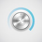 Volume button (knob) with metal (chrome) texture Stock Image