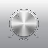 Volume button with metal brushed texture and line scale. Volume button, sound control, music knob with metal aluminum or chrome brushed texture and line scale Stock Photos
