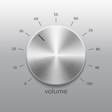 Volume button with metal texture and dial. Volume button, sound control, music knob with metal texture and dial isolated on gray background Stock Photo