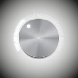 Volume button with metal texture and neon light. Scale vector Stock Image