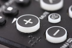 Volume Control Buttons on TV Remote. The up and down volume control buttons on a tv remote controller Stock Images