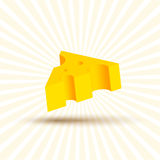 Volume of cheese illustration, realistic design beautiful yellow piece with shadow on white background Royalty Free Stock Photo
