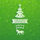 Volume Christmas tree with symbols of 2014 year Stock Images