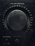 Volume Control Button. Details of an old amplifier, closeup view on volume control, balance and loudness Stock Image