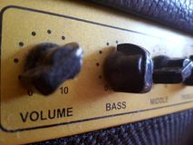 Volume control. Dusty volume control - bass, treble, middle, volume - for guitar Royalty Free Stock Image