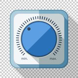 Volume control or volume knob icon in flat style on transparent background. Volume control or volume knob icon in flat style with long shadow on transparent vector illustration