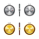 Volume Controls. A set of silver and gold brushed metal volume controls, sliders and knobs Royalty Free Stock Photography