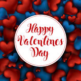 Volume 3D Realistic Red Hearts Background with Happy Valentines Stock Images