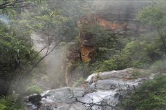 Volume de água sobre a borda em Wentworth Falls enevoado Fotos de Stock Royalty Free