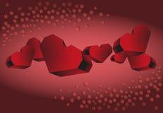 Volume di nastro di cuori rossi su un fondo rosso Fotografia Stock