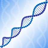 Volume DNA chain in vector clipart. Volume colored DNA. Blue coloured picture, molecule of deoxyribonucleic acid. Logotype of genetically modified organisms Royalty Free Stock Photos