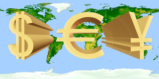 Volume dollar signs of the USA, eurocurrency and Japanese yen of Stock Photos