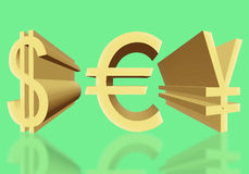 Volume dollar signs of the USA, eurocurrency and Japanese yen of Royalty Free Stock Photos