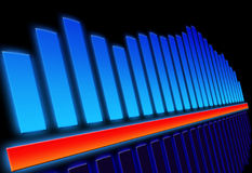 Volume equalizer. Illustration, blue and red color Royalty Free Stock Photo