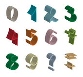 Volume figures. From colorful ribbons Royalty Free Stock Images