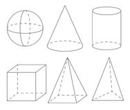 Volume geometric shapes: sphere, cone, cylinder, cube, pyramid. Royalty Free Stock Photos