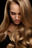 Volume Hair. Beautiful Woman Model With Long Blonde Hair stock photo