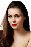 Volume Hair. Beauty Woman with Very Long Healthy and Shiny Smoot Royalty Free Stock Photography