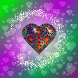 Volume heart. Bright pattern. Surrounds Lights Royalty Free Stock Photography