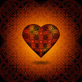 Volume heart. Pattern on surface. Orange and black Royalty Free Stock Photography