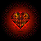 Volume heart. Pattern on surface. Red and black Royalty Free Stock Photo