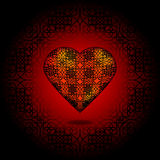 Volume heart. Pattern on surface. Red and black Stock Photography