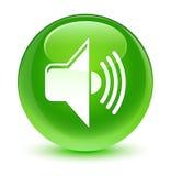 Volume icon glassy green round button Stock Photos
