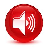 Volume icon glassy red round button Royalty Free Stock Photo