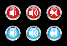 Volume icons. Volume glass button icons. Please check out my icons gallery Stock Images