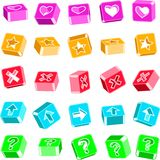 Volume icons. Set of volume icons with symbols of hearts, crosses, arrows, stars, and a question mark Stock Photo
