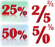 25% 50% volume inscriptions Stock Images