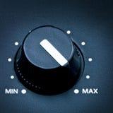 Volume Knob. Black olume knob on maximum, close up stock photography