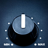 Volume Knob. Black olume knob in middle position, close up stock images