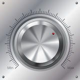 Volume knob with min max levels. On steel plate Stock Photos